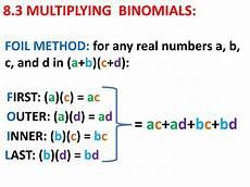 ppt 8 3 multiplying binomials powerpoint presentation