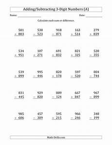 digits addition and subtraction worksheet 3 digit plus minus 3 digit addition and subtraction with