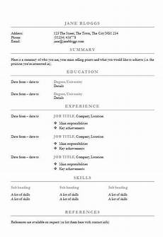 free centred headings cv r 233 sum 233 template in word cv template master