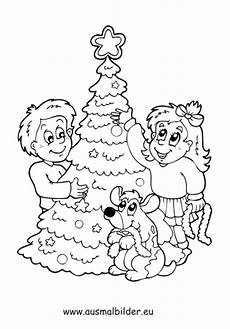 ausmalbild kinder mit weihnachtsbaum kostenlos ausdrucken
