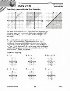 graphing inequalities in two variables worksheet for 9th grade lesson planet