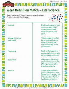 science definition worksheets 12171 word definition match science 6th grade science sod