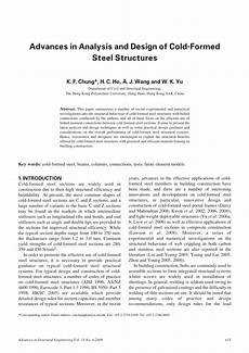 pdf advances in analysis and design of cold formed steel structures