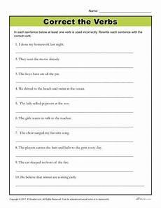 grammar worksheets sixth grade 24982 correct the verbs printable 4th 6th grade grammar activity grammar worksheets 6th grade