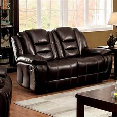 furniture of america pahlo brown faux leather plush