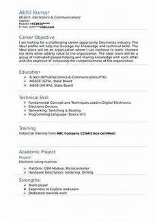 resume templates for electronics and communication engineer freshers download free