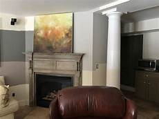 before picture low light room basement media room rec room best greige paint color greige