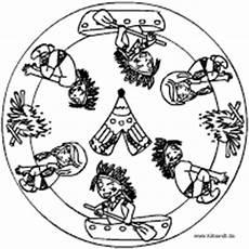 Indianer Ausmalbilder Mandalas Indianer Mandala Im Kidsweb De