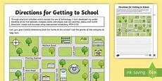 compass directions ks2 worksheets 11720 getting to school directions worksheet worksheet esl directions resources