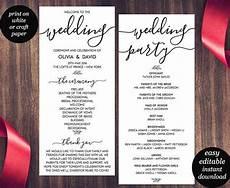 wedding program template printable wedding program wedding program printable ceremony