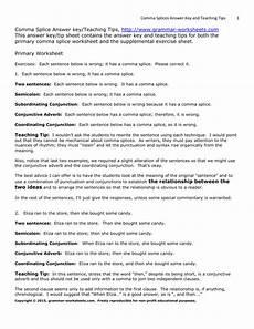 grammar worksheets comma splices worksheet 3 16 exercises 24726 comma splices three worksheets answers tips