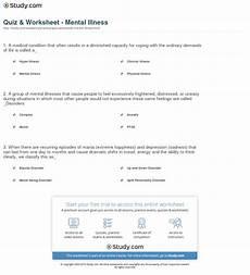 quiz worksheet mental illness study com