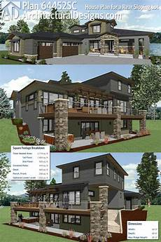 lake house plans for sloping lots plan 64452sc house plan for a rear sloping lot in 2020