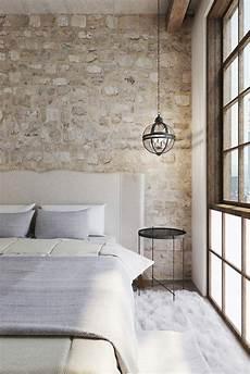 ideen f 252 r wandgestaltung steinwand schlafzimmer wei 223 er
