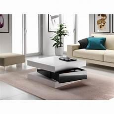 Fixy Table Basse 80 Cm Blanc Et Noir Brillant Achat