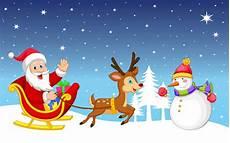 merry christmas snowman santa claus sleigh reindeer gifts winter christmas wallpaper hd