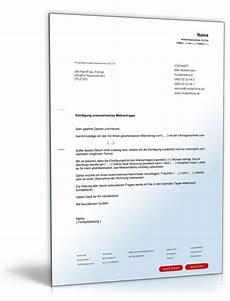 kündigung mietvertrag vermieter k 252 ndigung mietvertrag mieter muster zum