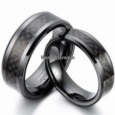 black ceramic ring black carbon fiber inlay couples engagement wedding band ebay