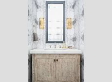 Gray Powder Room Wallpaper with Light Brown Washstand