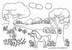 sommerwiese mit pferd nadines ausmalbilder