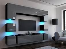 Wohnwand Modern Design - kaufexpert wohnwand quadro grau hochglanz schwarz 228 cm