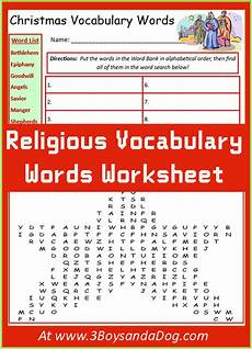 christmas religious vocabulary words worksheet 3 boys and a dog