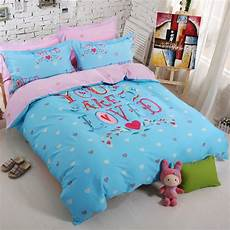 4pcs 100 cotton bedding lover bed linens duvet cover home breathable smooth queen size