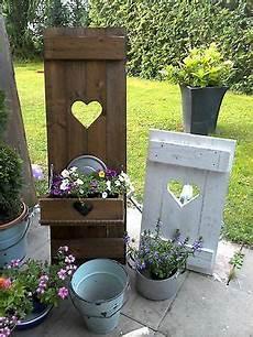 Shabby Fensterladen Herz Blumenkasten Garten Deko Holz