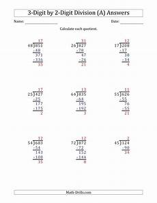 digit division math worksheet 3 digit by 2 digit division with remainders and steps