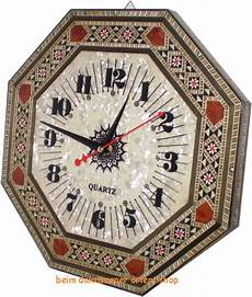 edle orientalische wanduhr uhr holz intarsien handmade
