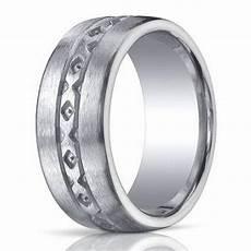 10mm designer brushed argentium silver wedding ring with pattern design justmensrings com