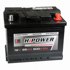 hr hipower autobatterie 12v 65ah 600a en starterbatterie