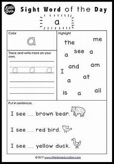 download free dolch sight words worksheets for pre k or pre primer learn to recognise sight
