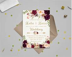 wedding invitation template floral wedding invitation template wedding invitation etsy