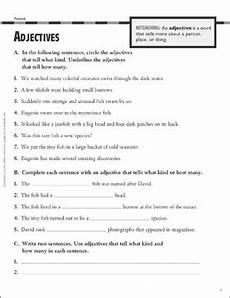 grammar worksheets adjectives 24698 adjectives grammar practice grade 4 printable test prep tests and skills sheets