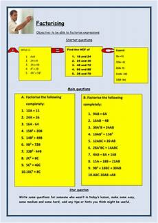 worksheets ks4 18926 factorising expressions ks3 or ks4 by teachbynumbers teaching resources tes