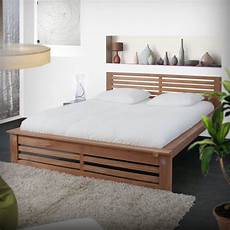 acheter lit avec t 234 te et sommier en teck design tikamoon