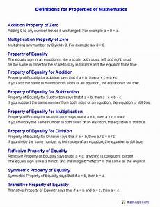 geometry properties of equality worksheets 697 definition for properties of mathematics worksheets school stuff