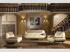 Light Brown & Beige Two Tone Leather 3PC Living Room Set 2812