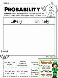probability worksheets events 5758 march printables grade literacy and math printables and grade