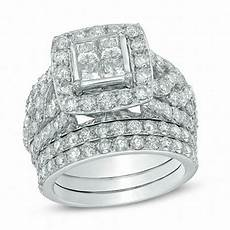 4 ct t w princess cut diamond frame bridal in