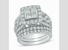 4 CT. T.W. Quad Princess Cut Diamond Frame Bridal Set in