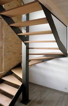 escalier deux quart tournant en acier et ch 234 ne mati 232 res
