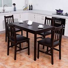 walmart kitchen furniture costway 5pcs solid pine wood dining set table and 4 chairs