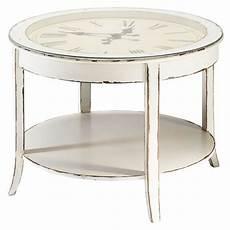 Runde Couchtisch Aus Glas Und Holz Mit Uhr D 72 Cm Wei 223