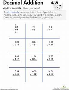 4th grade math worksheet adding and subtracting decimals decimal addition worksheet education