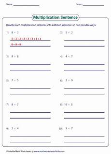 writing addition and multiplication sentences worksheets 22118 basic multiplication worksheets