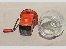 1930s vintage nut grinder, old red paint metal hand crank