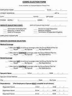 cobra election form download printable pdf templateroller