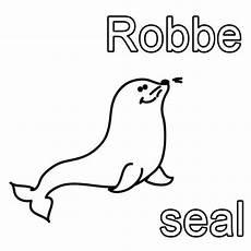 kostenlose malvorlage englisch lernen robbe seal zum